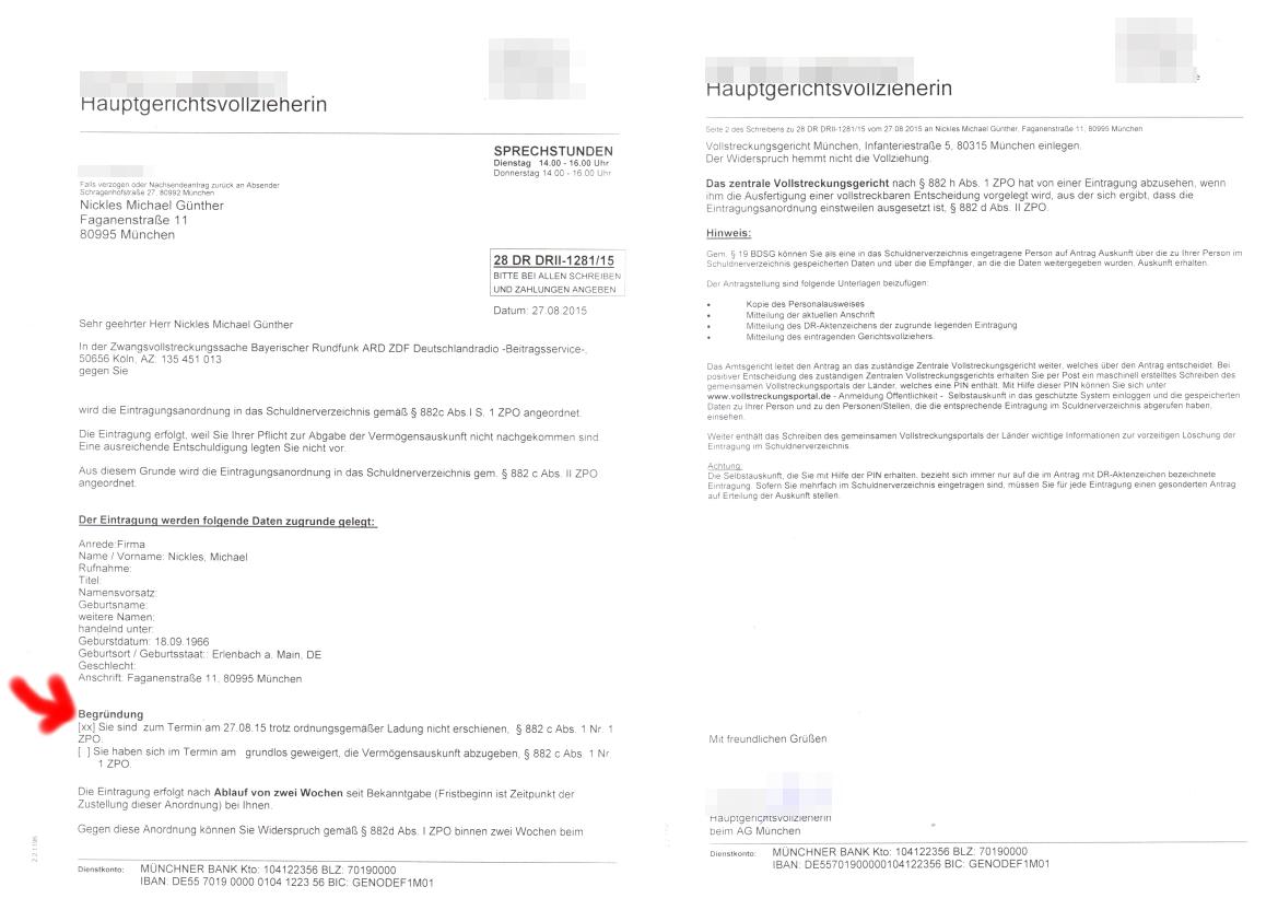 die ankndigung der eintragung in das schuldnerverzeichnis - Gez Widerspruch Muster