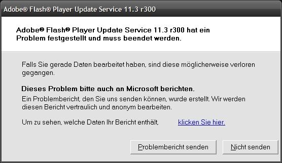 flash player update funktioniert nicht