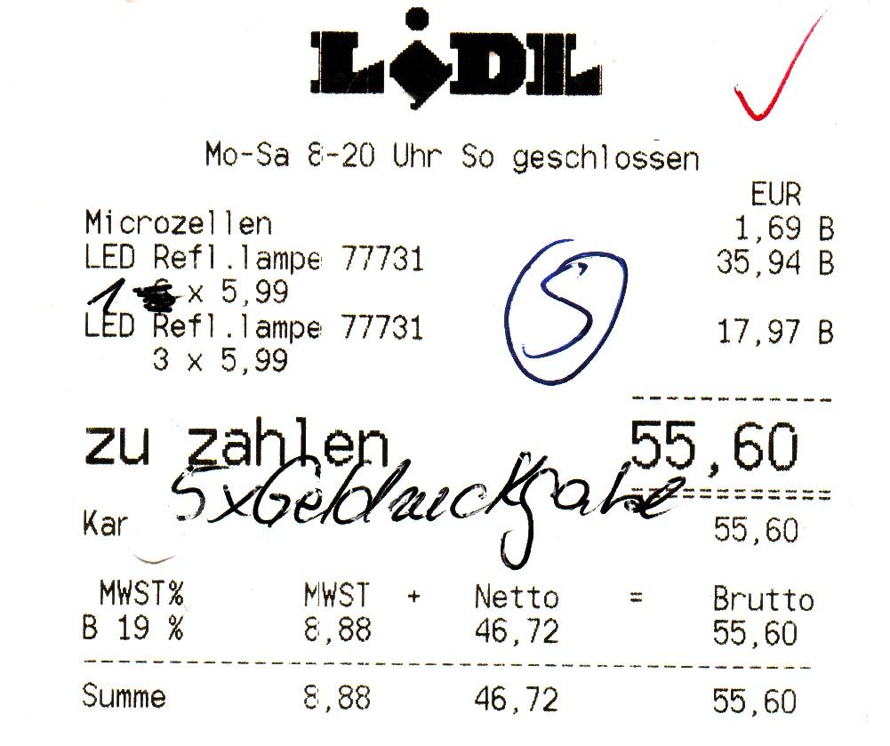 Die 5 Kaputten LED Leuchtmittel Wurden Von Lidl Zuruckgenommen 30 Euro Erstattet