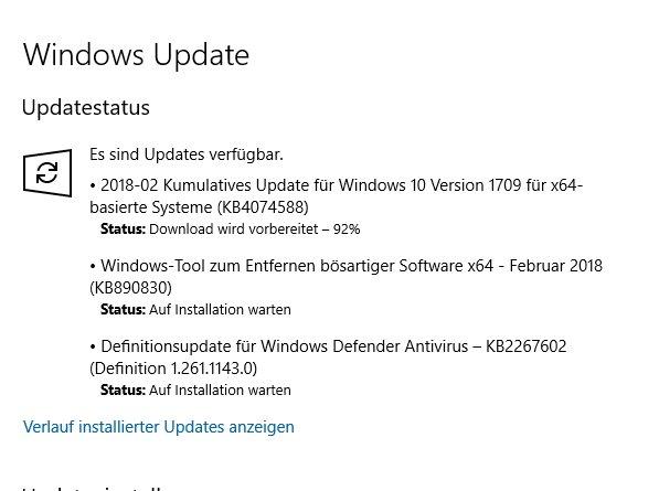 windows update auf installation warten