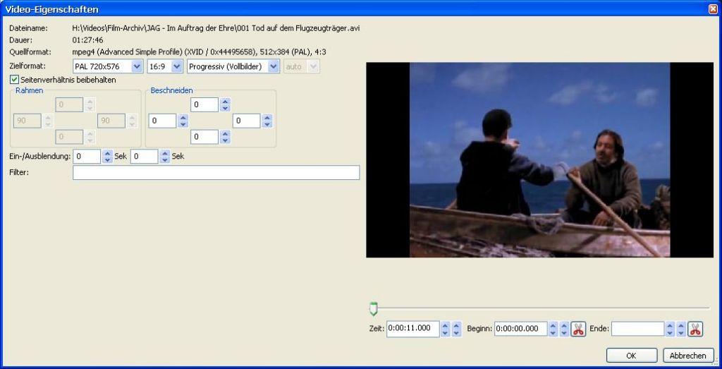 Video-Seitenverhältnis ändern