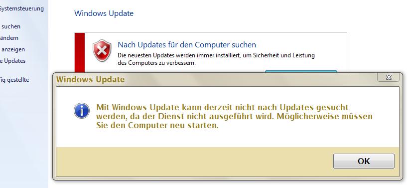 mit windows update kann derzeit nicht nach updates gesucht werden